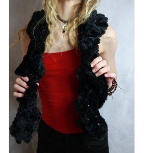 LIKE NEW Cejon Black Faux Fur Twist Sparkle Scarf